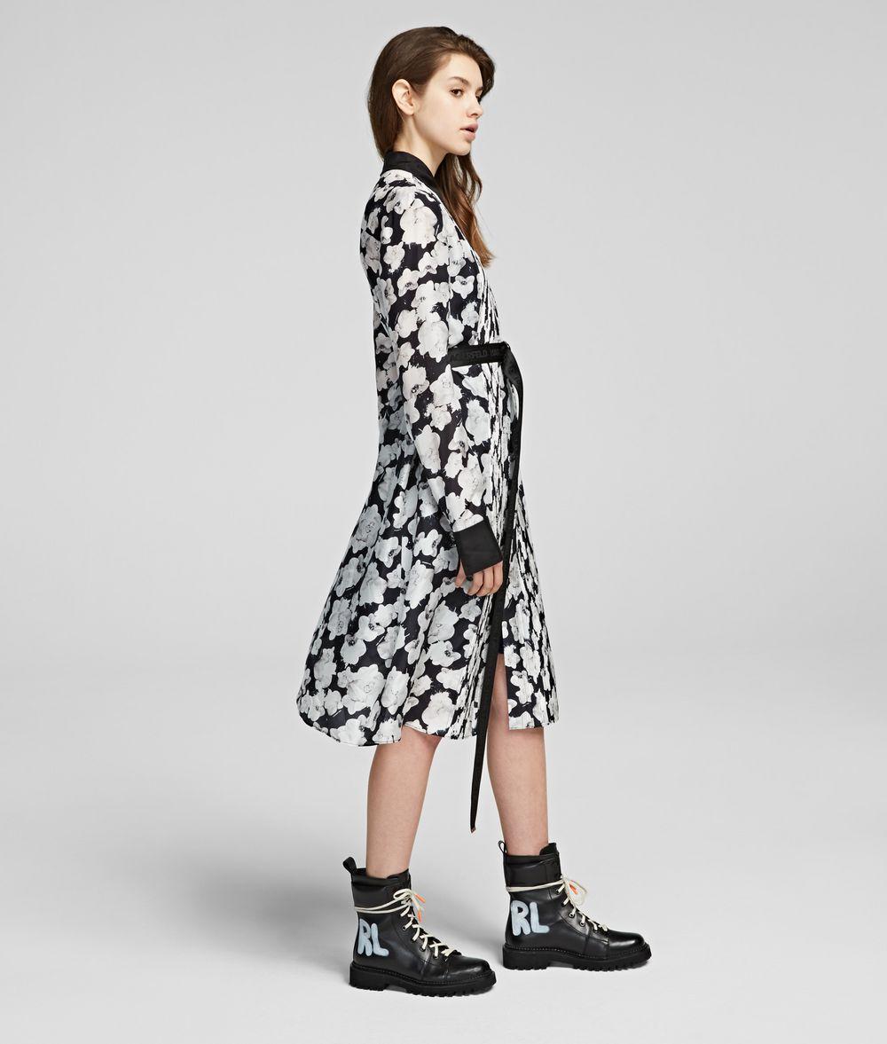 KARL LAGERFELD Orchid Print Silk Shirt Dress Dress Woman d