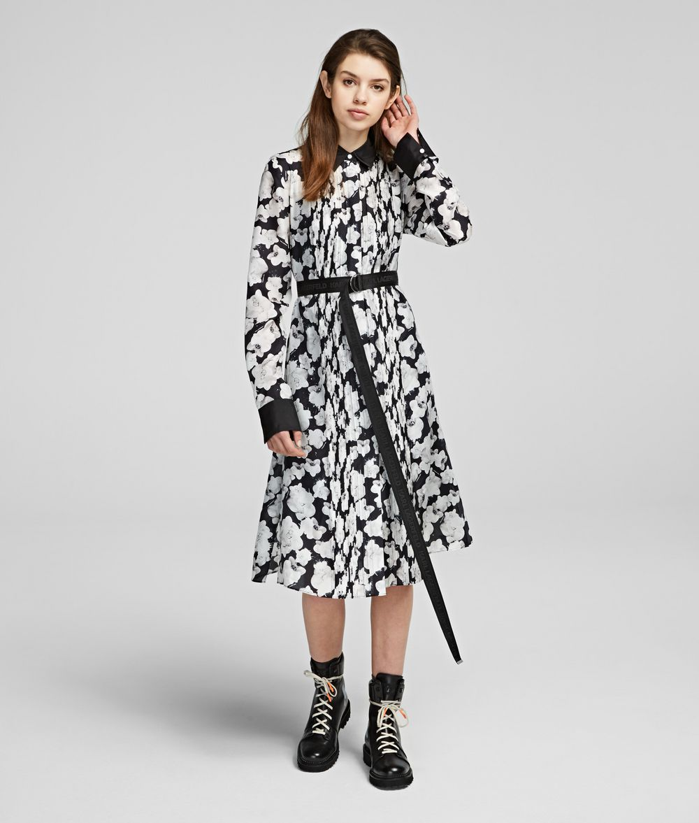 KARL LAGERFELD Orchid Print Silk Shirt Dress Dress Woman f