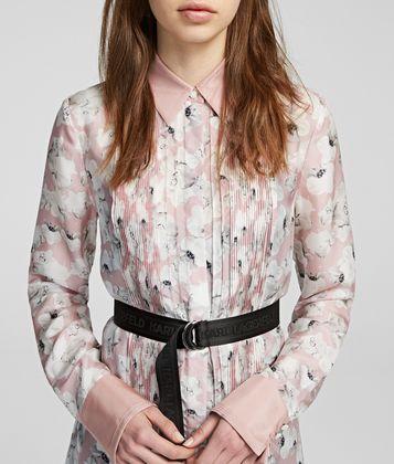 KARL LAGERFELD ORCHID PRINT SILK SHIRT DRESS