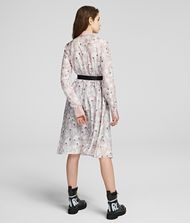 KARL LAGERFELD Orchid Print Silk Shirt Dress 9_f