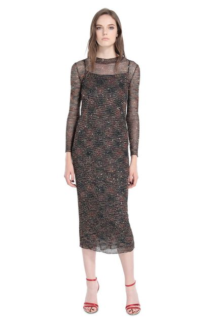 MISSONI Long dress Brown Woman - Back