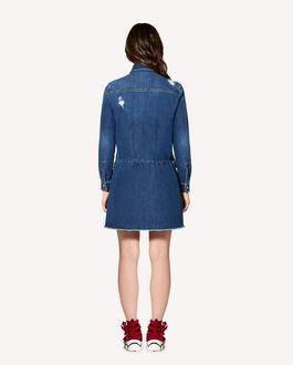 REDValentino Scallop detail denim shirt dress