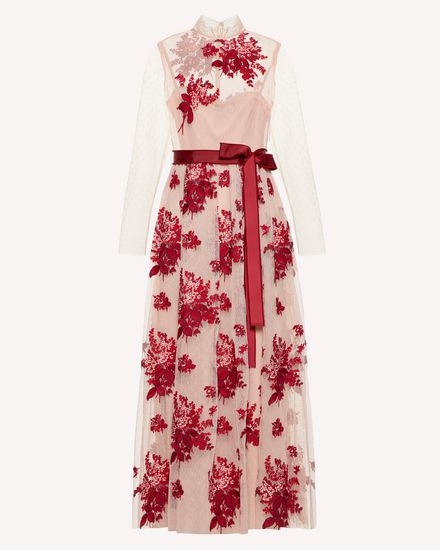 Floral Tapestry embroidered point d'esprit tulle dress