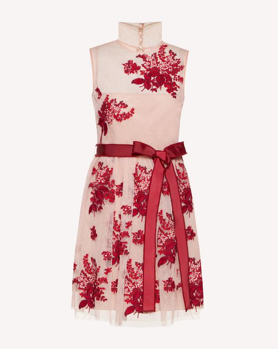 REDValentino Floral Tapestry embroidered point d'esprit tulle dress