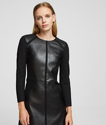 KARL LAGERFELD LEATHER & PUNTO DRESS