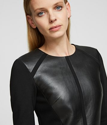 KARL LAGERFELD LEATHER & PONTE DRESS