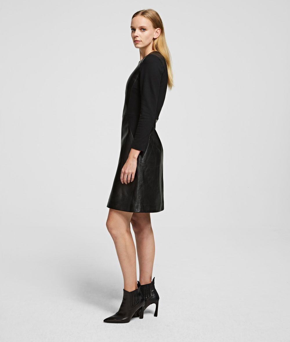 KARL LAGERFELD Leather & Ponte Dress Dress Woman d