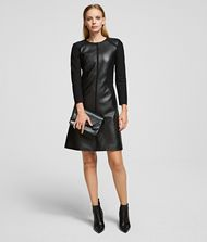 KARL LAGERFELD Leather & Ponte Dress 9_f