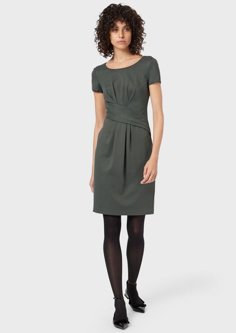 Milano stitch fabric dress with darts at the waist