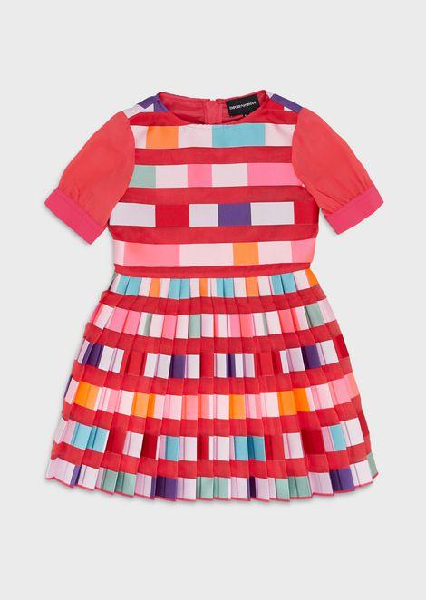 Organza dress with multicolour plissé skirt