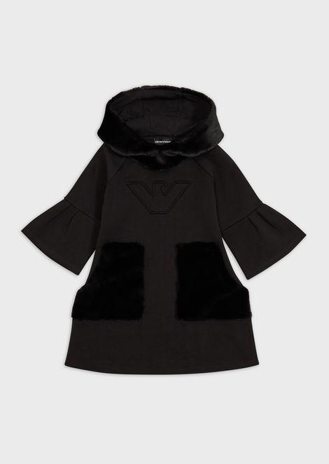 Lightweight jersey fleece dress with godet pleats