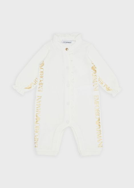 Baby suit with vertical logo print