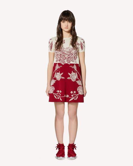 Toile de Jouy jacquard stretch viscose knit dress