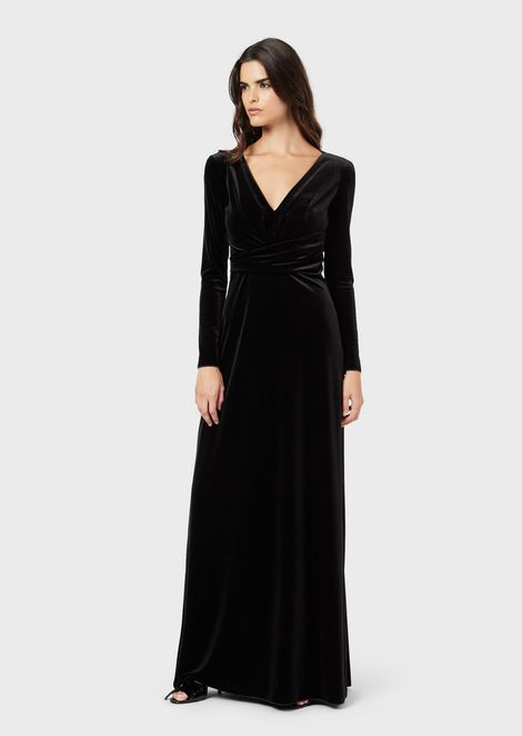 Chenille jersey long dress with deep neckline