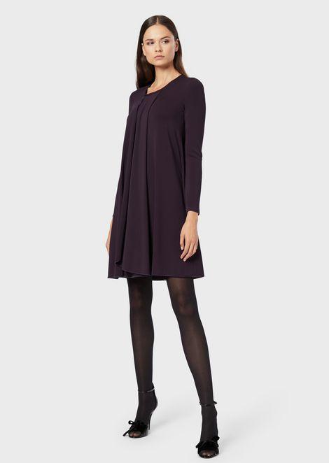 Draped, crêpe-effect fabric dress