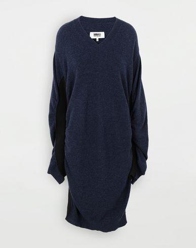 ワンピース・ドレス ルーシュ ウール ドレス ブルー