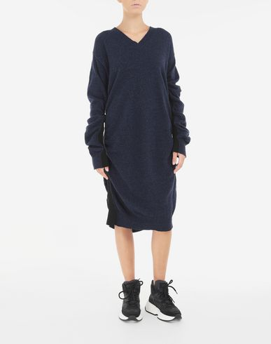 DRESSES Ruched wool dress Blue
