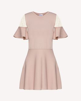 REDValentino Point d'esprit tulle detail stretch viscose knit dress