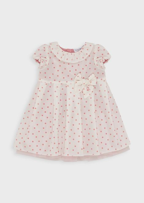 Flared dress in polka-dot taffeta