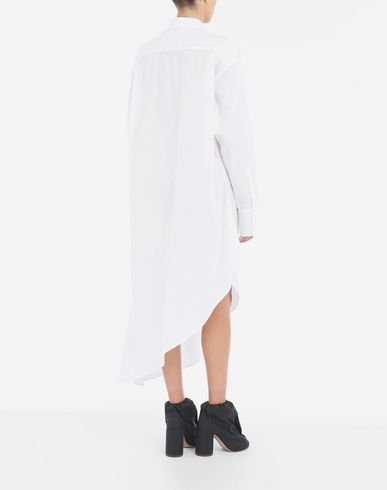 ワンピース・ドレス アシンメトリック シャツドレス ホワイト