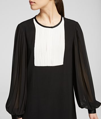 KARL LAGERFELD PLEATED SLEEVE MIDI DRESS