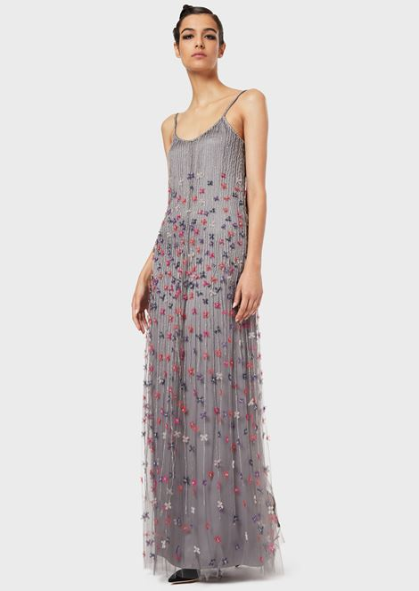 Long embroidered dress with floral motif