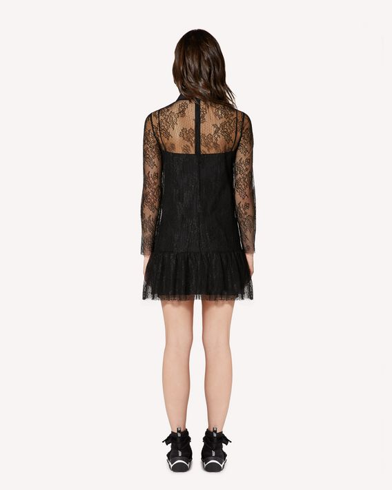 REDValentino Dentelle fleurs lace dress with collar detail