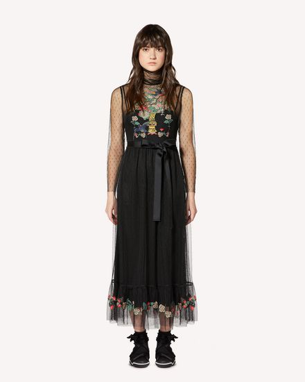 Chinese Lacquer embroidered point d'esprit tulle dress