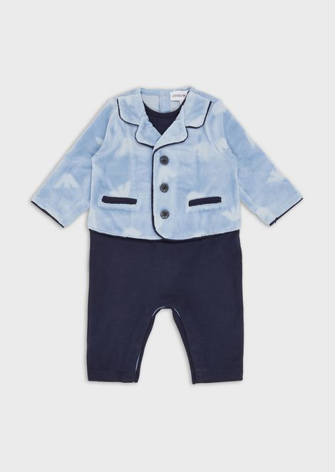 Baby suit with lapels and monogram