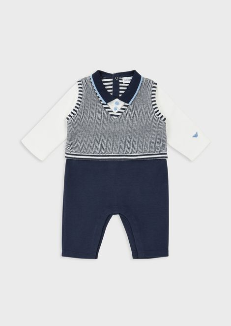 Baby suit with collar and herringbone motif