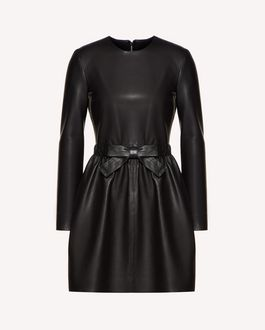 REDValentino Bow detail leather dress