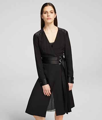 KARL LAGERFELD LAYERED WRAP DRESS