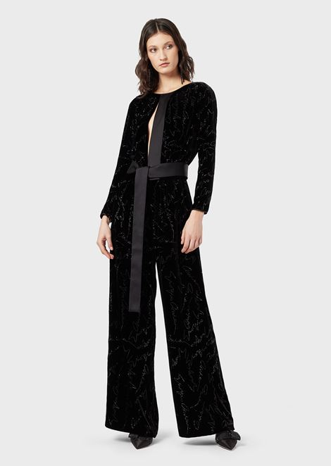 Velvet jumpsuit with Giorgio Armani rhinestone embroidery