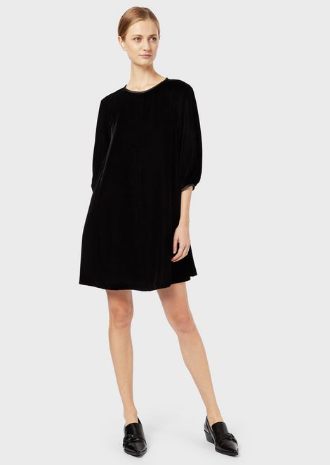 Velvet tunic dress with puffed sleeves