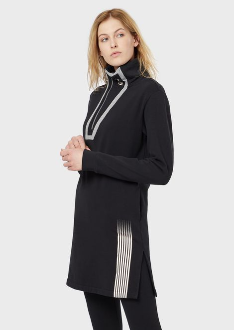 Jersey fleece dress with high collar and zip