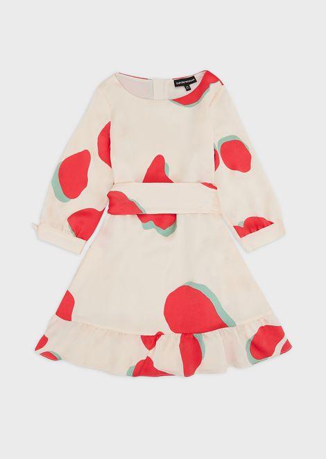 LeoFlower-print crêpe dress