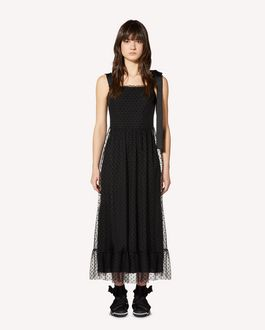 REDValentino Flocked polka-dot tulle dress
