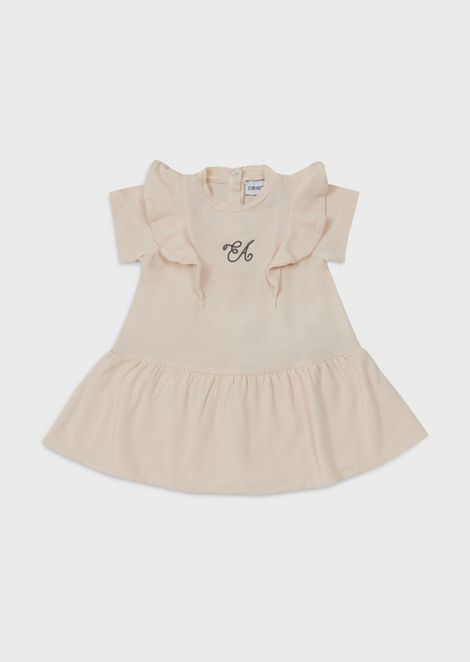 Jersey dress with embroidered logo and ruffles