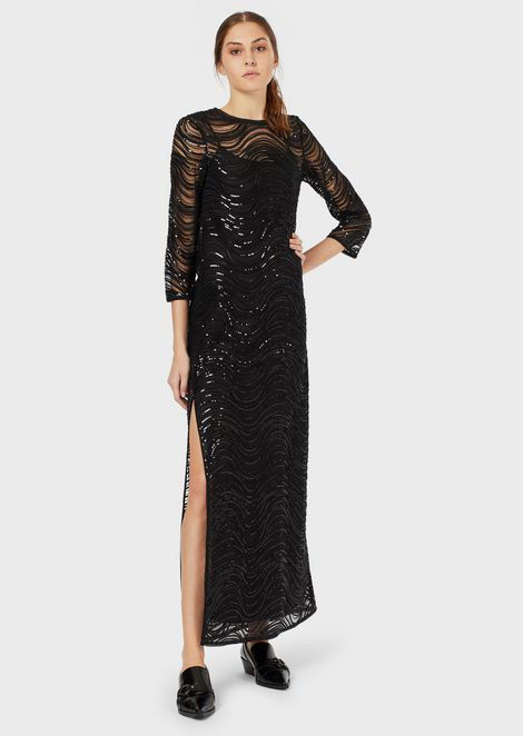 Long dress with embroidered sequins and wave motif