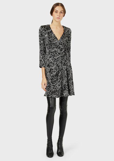 Floriental-print, pure silk satin dress