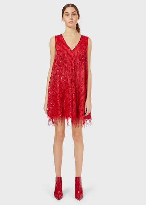 Mini dress with embroidered fringe