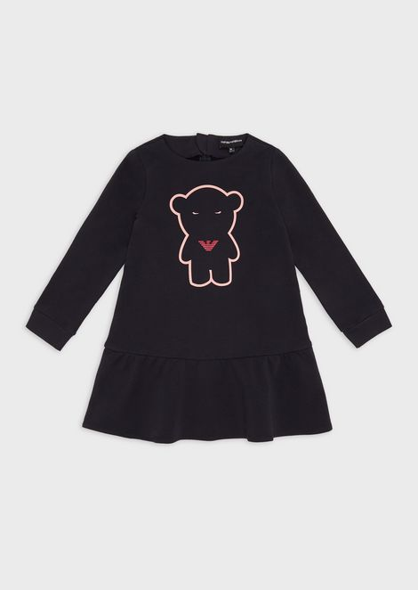 Manga Bear-print jersey fleece dress