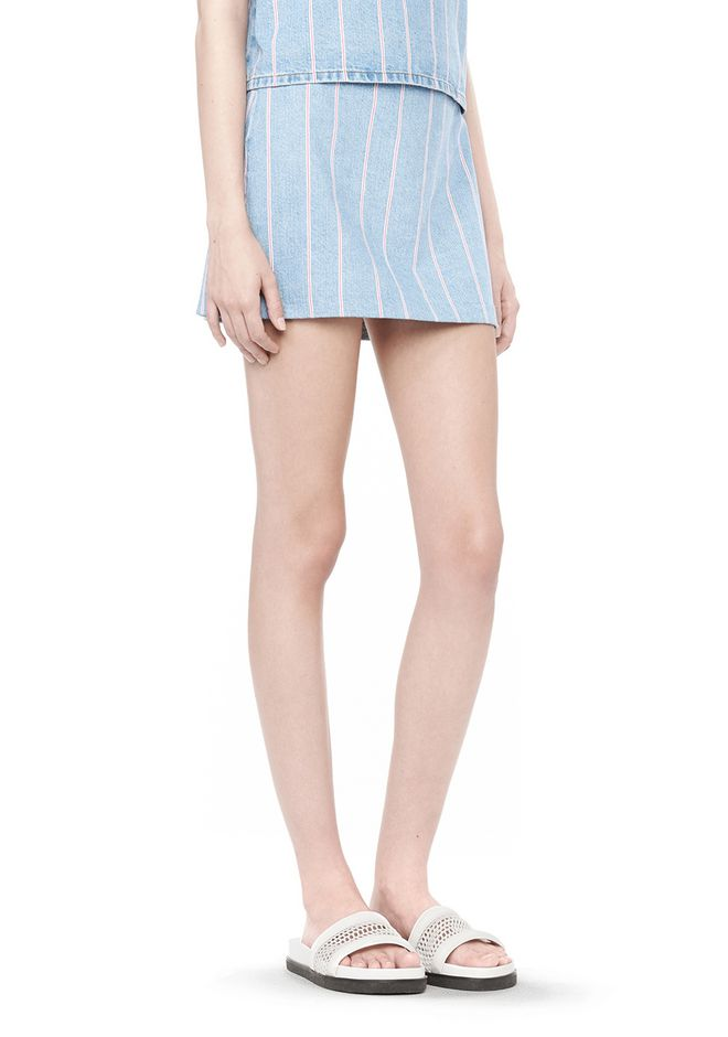 STRIPED DENIM MINI SKIRT | SKIRT | Alexander Wang Official Site