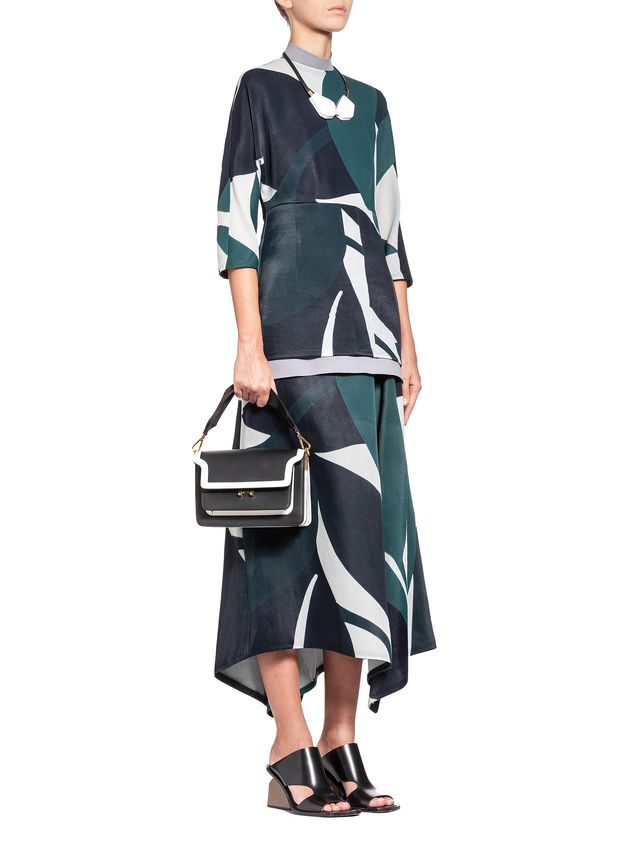 Marni Split skirt in devoré twill with Shadow print Woman - 4
