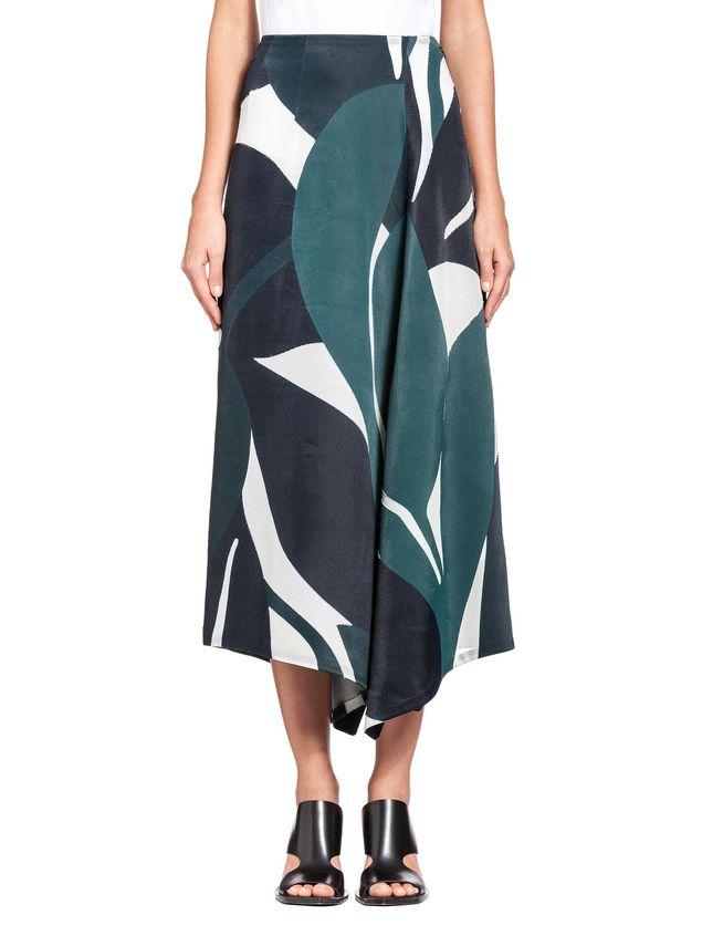 Marni Split skirt in devoré twill with Shadow print Woman - 1