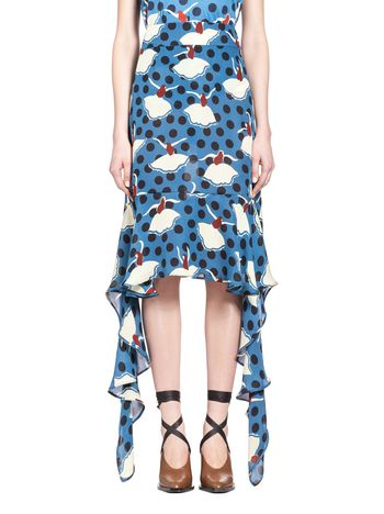 Marni Skirt in Pirouette print silk georgette Woman