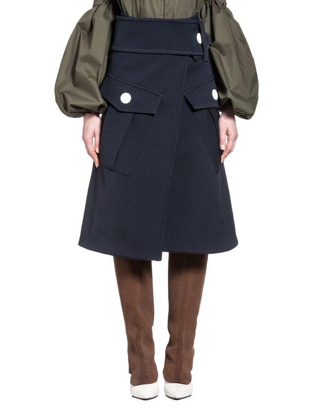 Marni Runway skirt in wool gabardine Woman - 1