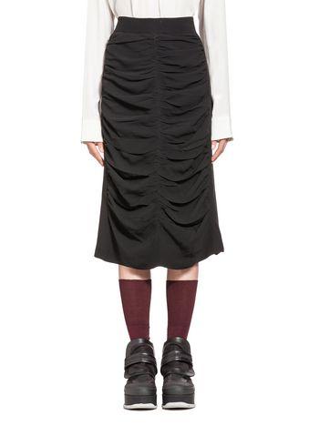 Marni Gathered crêpe-back satin skirt Woman