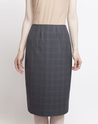 MAISON MARGIELA Look 27: Wool Check Skirt Knee length skirt D f