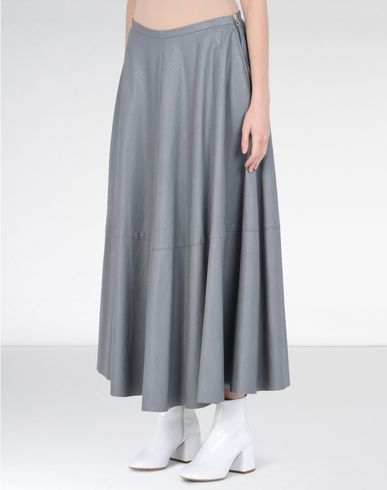 MM6 by MAISON MARGIELA Long skirt D Long flared skirt in fake leather f